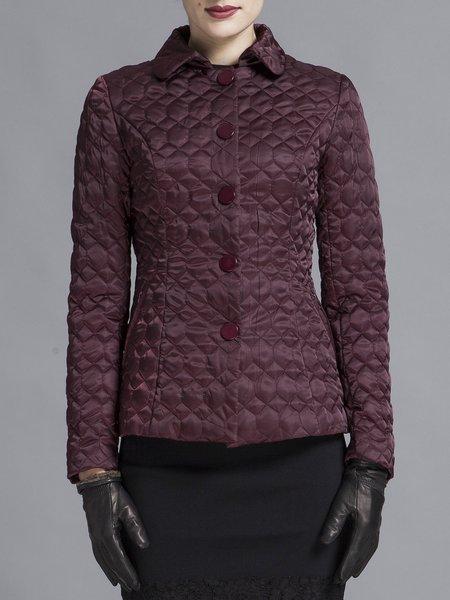 Burgundy Plain Buttoned Lapel Long Sleeve Coat