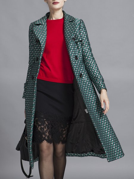 Green Long Sleeve Pockets Printed Coat with Belt
