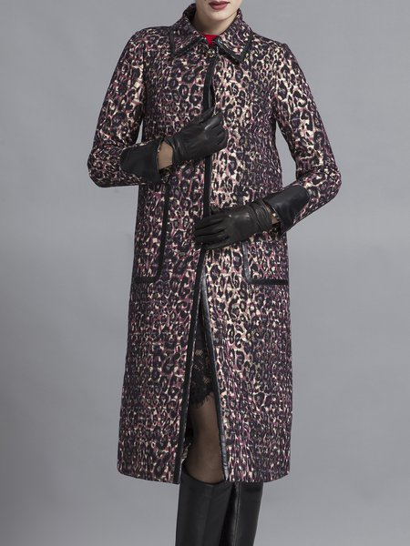 Multicolor Floral Printed Polyester Long Sleeve Coat