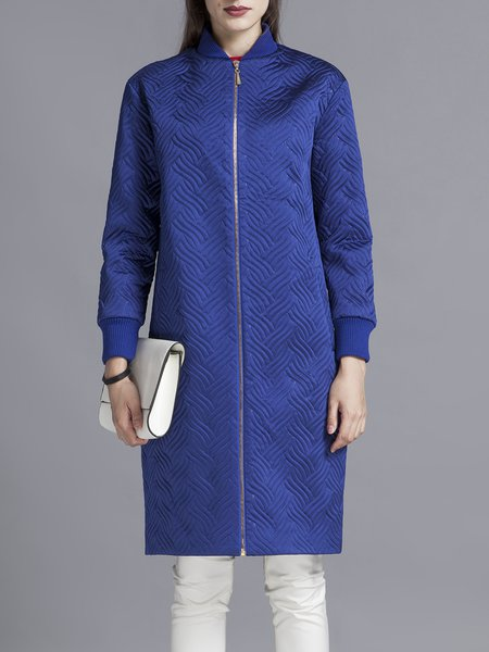 Plain Jacquard Casual Long Sleeve Coat