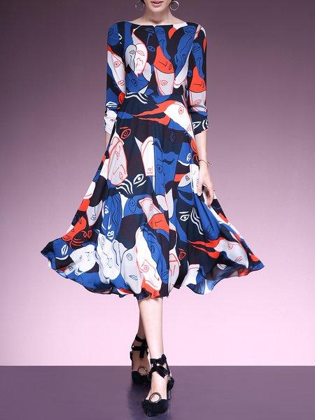 Multicolor 3/4 Sleeve Crew Neck Abstract Printed Swing Midi Dress