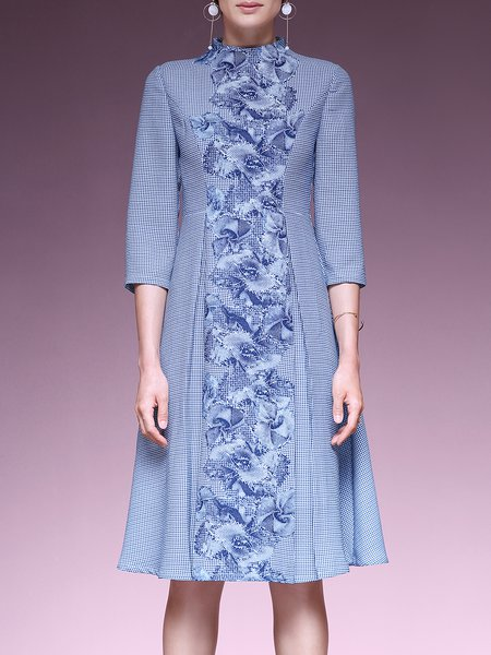 Elegant Floral Folds 3/4 Sleeve A-Line Midi Dress