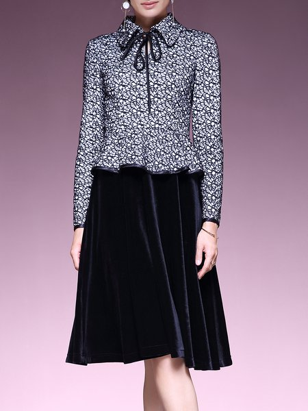 Black Ruffled Shirt Collar Paneled Vintage Midi Dress