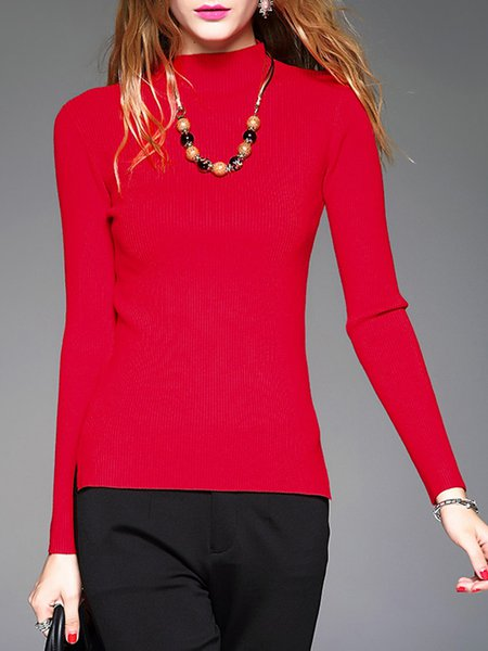 Red Casual Angora-blend Knitted Sweater