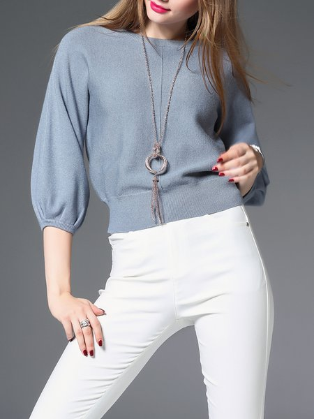 Knitted 3/4 Sleeve Casual Crew Neck Sweater