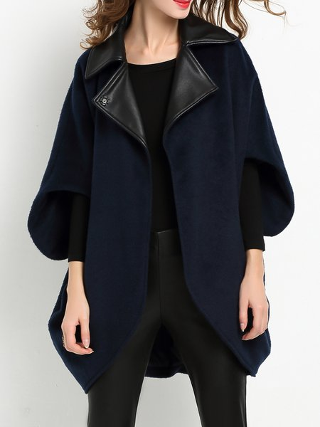 Asymmetrical Solid Batwing Lapel Coat
