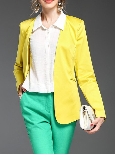 Yellow Formal H-line Cotton-blend Solid Blazer