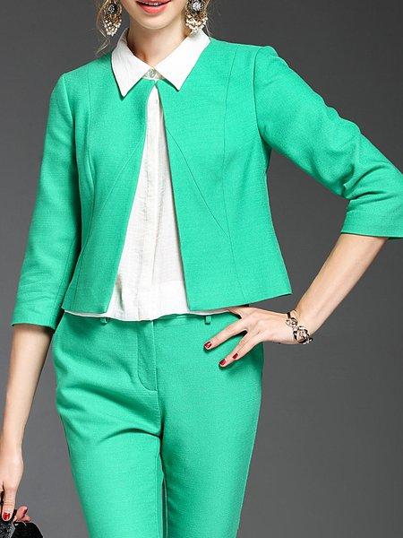 3/4 Sleeve Elegant Solid Cropped Jacket