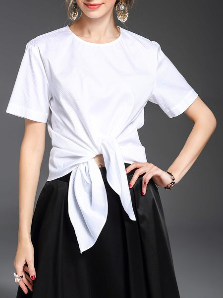 White Knot Short Sleeve Crew Neck Bow Blouse