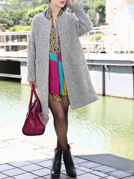 White H-line Casual Long Coat