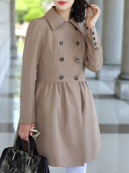 Long Sleeve Polyester Plain Casual H-line Trench Coat
