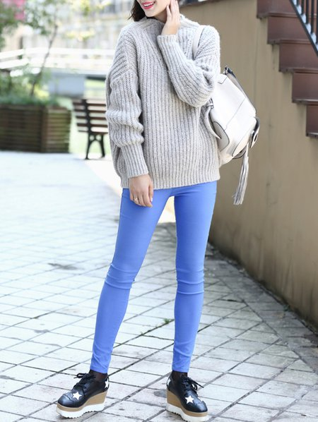 Gray Long Sleeve Viscose Sweater