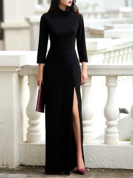 Black Slit Solid 3/4 Sleeve Cotton-blend Maxi Dress