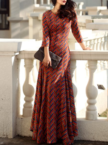 Multicolor Mermaid Elegant Geometric Cotton-blend Maxi Dress