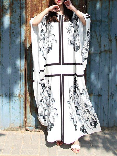 Shift Crew Neck Animal Print Boho Maxi Dress