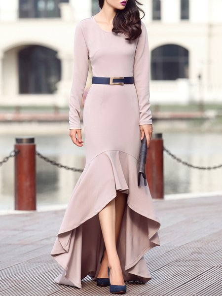 Elegant Ruffled High Low Long Sleeve Cotton-blend Maxi Dress with Belt