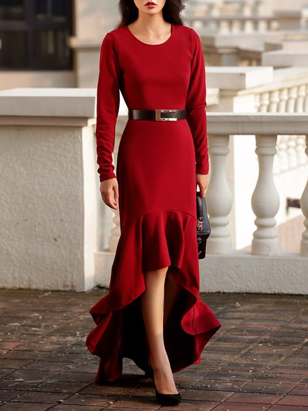 Red Elegant Long Sleeve High Low Ruffled Maxi Dress with Belt