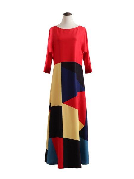 Multicolor Cotton-blend Crew Neck Geometric Casual Maxi Dress
