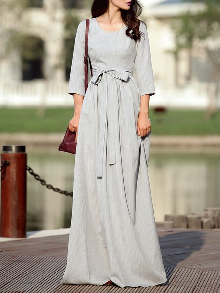 Gray Stripes Casual Cotton-blend Maxi Dress with Belt