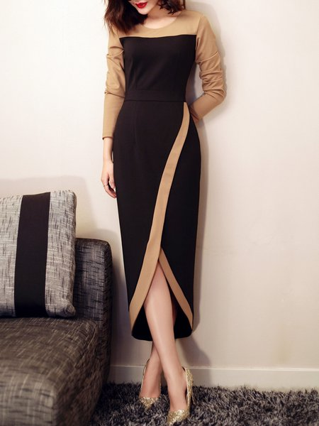 Elegant Sheath Color-block Long Sleeve Maxi Dress