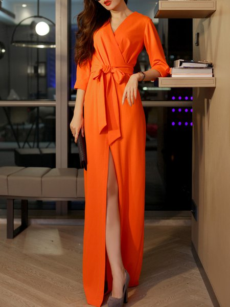 Elegant Surplice Neck 3/4 Sleeve Slit Maxi Dress with Belt
