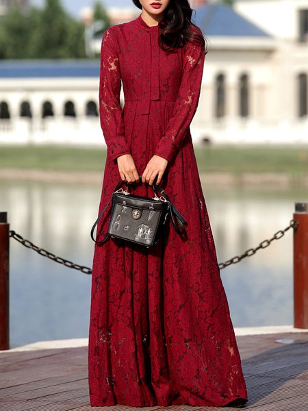 Long Sleeve Elegant Crew Neck Plain Lace Maxi Dress