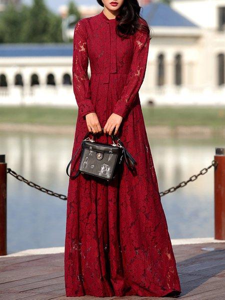 Long Sleeve Elegant Crew Neck Plain Lace Maxi Dress