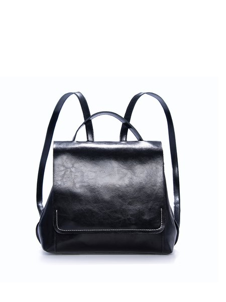 Black Casual Leather Fold-over Flat Top Backpack