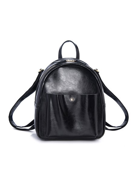Black Leather Casual Zipper Backpack
