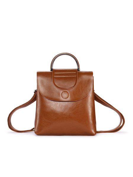 Brown Fold-over Flat Top Casual Backpack
