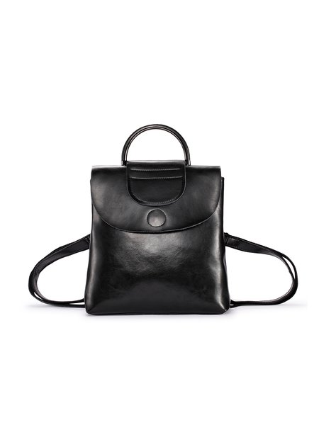 Black Fold-over Flat Top Casual Backpack