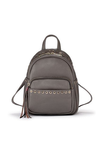 Gray Leather Casual Zipper Backpack