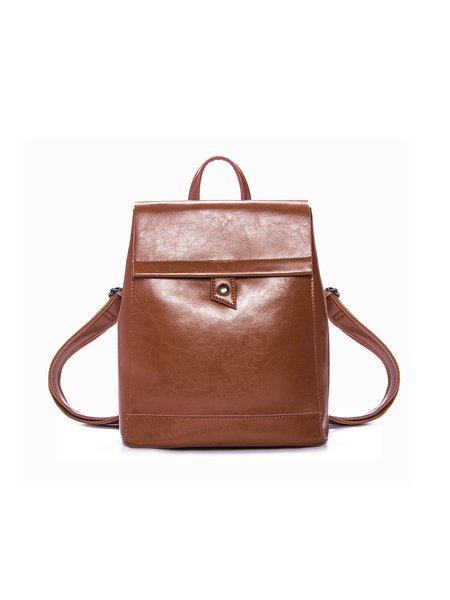 Brown Magnetic Casual Leather Backpack
