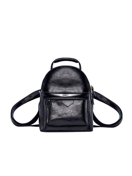 Black Casual Zipper Backpack