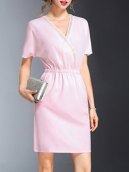 Pink V Neck Beaded Sheath Elegant Shirred Midi Dress