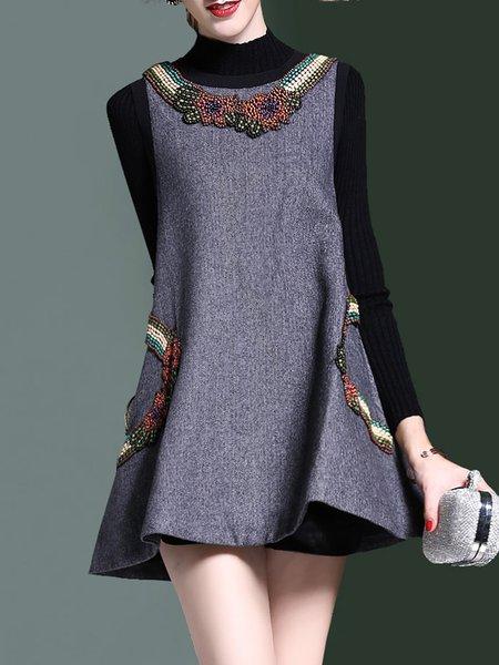 Gray Two Piece Long Sleeve Beaded Mini Dress