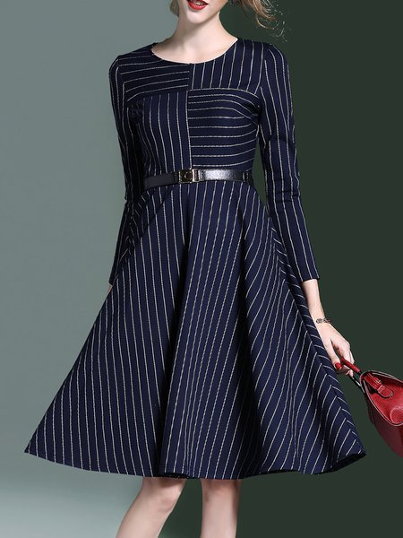 Navy Blue Stripes Elegant Midi Dress