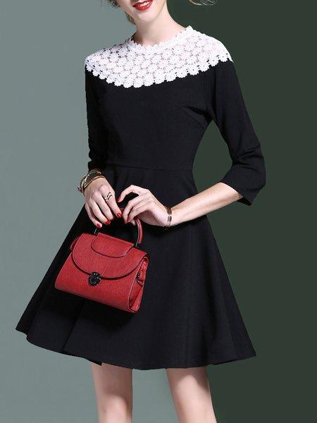 Black Elegant Paneled Mini Dress
