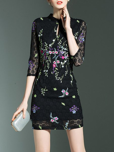 Black Embroidered Floral Guipure lace Plus Size Dress