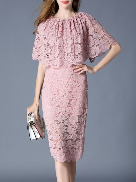 Guipure Lace Slit Cape Sleeve Sheath Dress