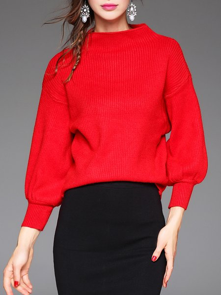 Red Angora-blend Balloon Sleeve Sweater