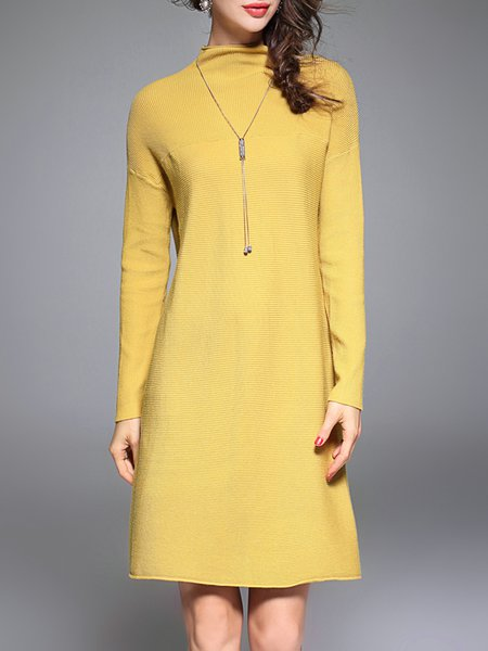 Plain Long Sleeve Knitted Casual Sweater Dress
