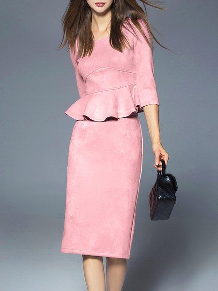 Pink Two Piece Ruffled 3/4 Sleeve Midi Dress
