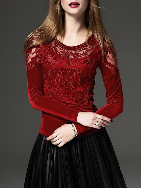 Elegant Embroidered Floral Long Sleeve Top