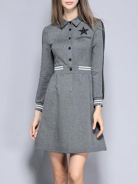Gray Shirt Collar Stripes Color-block Casual Mini Dress