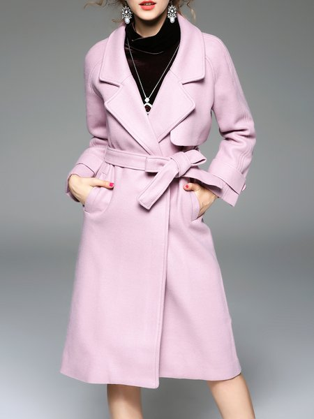 Buttoned Solid Long Sleeve Casual Wool Blend Coat with Belt
