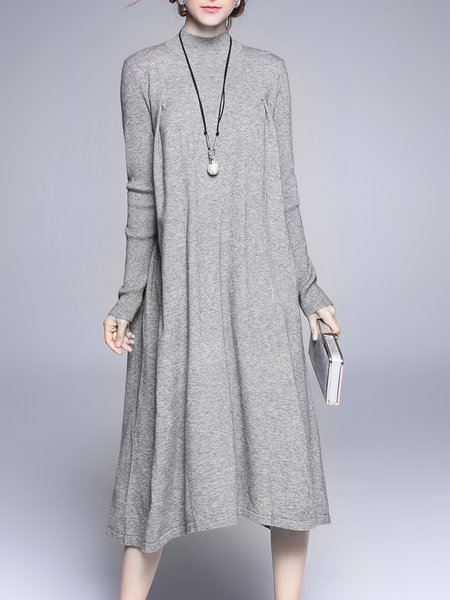 Casual Asymmetrical Long Sleeve Turtleneck Sweater Dress
