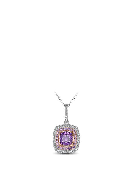 Purple Geometry Zircon 925 Sterling Silver Necklace