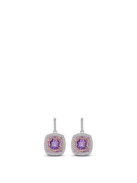 Purple Zircon Geometry 925 Sterling Silver Earrings