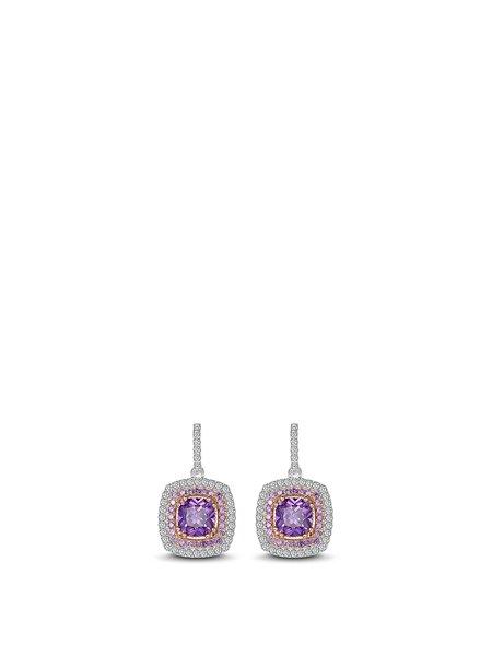 Purple Zircon Geometry Silver-Color Earrings